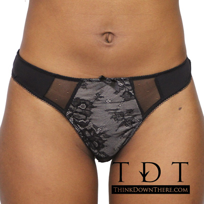 Rene Rofe's UIA 'Bloom For Two' Thong - 126004-BLK Panty Panties Underwear