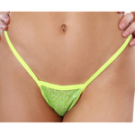 Body Zone Shiny Mesh Tiny Low Back Tee Thong - 1162SM | 2 Colors Available