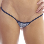 Body Zone Lace Print Tiny Low Back Tee Thong - LP001